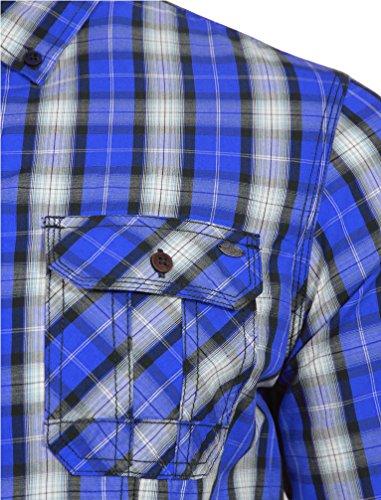 Tokyo Laundry Herren Peven Langarm Brusttaschen Knopf Kariert Hemd Größe  SXXL Ozean Blau