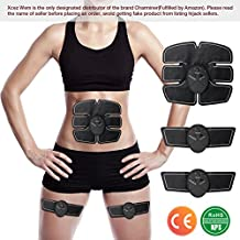 Electroestimulador Muscular Abdominales,Charminer Masajeador Eléctrico Cinturón EMS Ejercitador del Cuerpo de los Músculos de Brazos y piernas