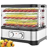 Meykey Dörrautomat mit Temperaturregler, Dörrgerät für Lebensmittel, Fleisch Frucht Gemüsetrockner, Dehydrator, BPA-frei (8 Etagen/400W)