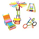 #3: Vibgyor Vibes Do It Yourself (DIY) Magic Building Kit/Blocks- Colourful Plastic Building Stick kits, Connector Set. Innovative Shapes and Designs Can be Made.