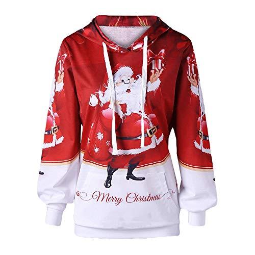 JYJM Weihnachten Damen Sweatshirt mit Kapuzen Weihnachten Langarm Plus Größe Pocket Santa Print Hoodie Kapuzenpullover Pullover Freizeit Pulli Weihnachten Party Oberteile Outwear (Authentisch Anzug Santa)