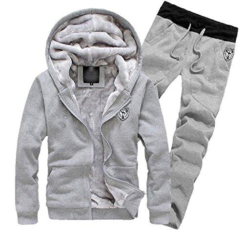 Fleece Hoodie Set (Rera Herren Herbst Winter Warm Set Kapuzenpullover Zip Fleece Hoodie Kapuzenjacke Dicken Mantel mit Fleece Schweißhose Jogginghose Sweathose)