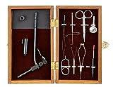 ARAPAIMA FISHING EQUIPMENT Bindeset für Fliegen in edler Holzbox mit Bindestock und Werkzeug Braun 25x15cm