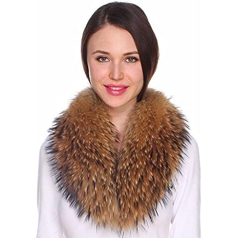 Ferand - Bufanda Cuello de Piel de Mapache Auténtica Desmontable para Abrigo Chaqueta Chaleco Parka de Mujer en Color Natural