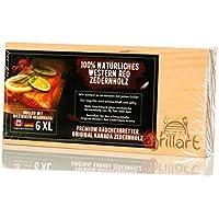 6 Pack XL Grillbretter – Zedernholzbrett zum Grillen – Räucherbretter aus Zedernholz von grillart® hergestellt aus 100% natürlichem Western Red Zedernholz von Kanada für einen besonderen Grillgeschmack