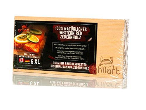 6 Pack XXL Grillbretter – Zedernholzbrett zum Grillen – Räucherbretter aus Zedernholz von grillart aus 100% natürlichem Western Red Zedernholz von Kanada für einen besonderen Grillgeschmack