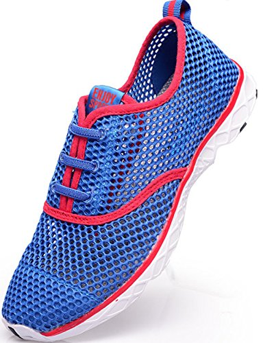 Men's Breathable Lightweight Slip On Outdoor Running Shoes Blue Red