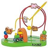 Motorikschleife incl. Namen - aus Holz - fahrende Eisenbahn + Tiere + Labyrinth - Motorik - Schiebespiel - Holzfigur zum Schieben / Ziehen - Spielzeug für Kinder Mädchen Jungen - Motorikspielzeug