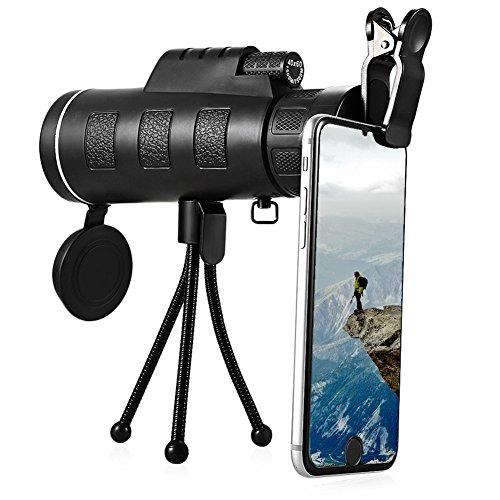 Monokular Teleskop SWAMPLAND 40X60 HD Militärische Hochleistungs Monokulares Wasserdicht & Anti-Nebel mit Telefonadapter Mount und Stativ für Wandern, Jagd, Klettern, Vogelbeobachtung, Reisen