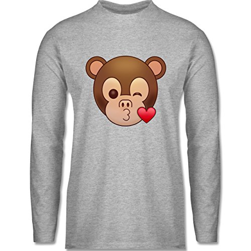 Shirtracer Comic Shirts - Küsschen Äffchen Emoji - Herren Langarmshirt Grau Meliert