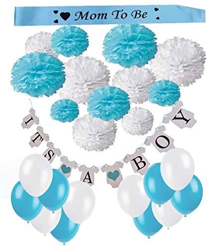 """FLGood - Fantastisches Babyparty Set - Schöne Dekoration aus 12 Papier Pom Poms - Niedliche Schriftzuggirlande \""""It´s a boy\"""" - Einmalige Geburtstag, Baby Shower Deko"""