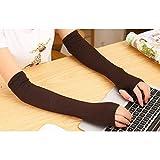 Leorx coppia di guanti lunghi senza dita scaldabraccia a mano per donne ragazze a maglia (caffè)