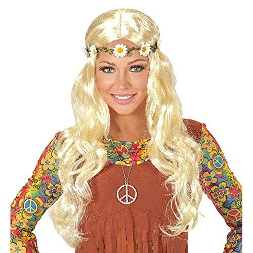ie oder Mittelalter Perücke mit Blumenstirnband in Beutel, One Size (Halloween-kostüm Hippie)