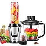 Deik Mixeur, Blender, Smoothie Blender, Mixeur Multifonctionnel 3 en 1, Smoothies, Milk-Shake, Jus.Tasse Portable de 570ml en Tritan Sans BPA, Inox, Design à gros boutons, Argenté