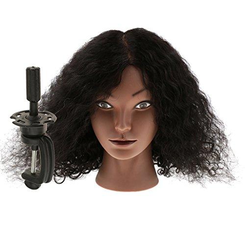 Sharplace Cheveux Réel de Humains Têtes d'Exercice avec Pince de Support Cosmétologie Mannequin Tête à Coiffer Coiffure Styling