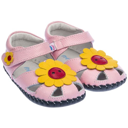 Freycoo-da bambine in vera pelle suola morbida bambino scarpe sandali rosa con fiori gialli, rosa (Pink), 06-12 Mesi Guida alle taglie 115 mm