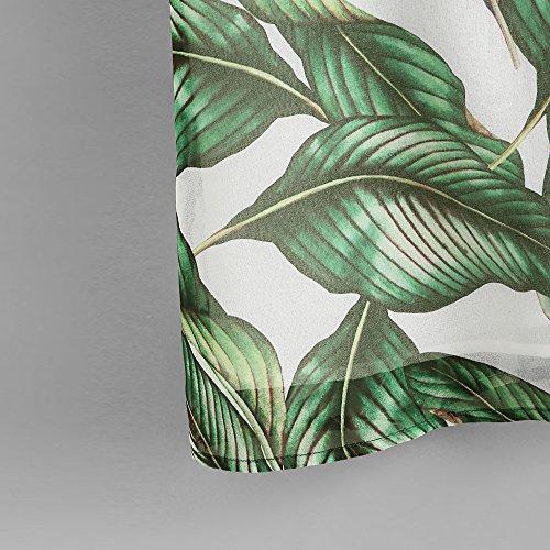 Longra Donna Le strisce di stampa delle foglie appendono le parti superiori Verde