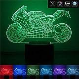 MOTOCICLETTA Idea regalo moto Lampada led 7 colori Compleanno Luce multicolore a batteria + cavo micro USB
