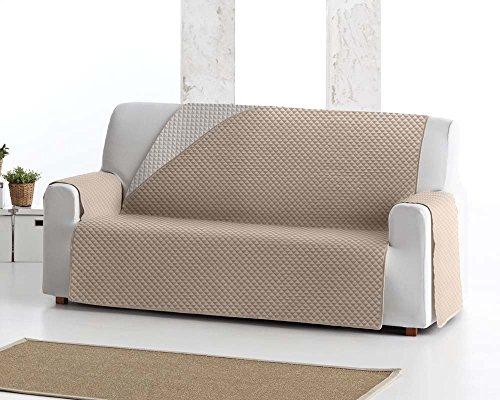 Copridivano salvadivano elena, 3 posti, protezione imbottita per divani reversibile. colore avorio 01