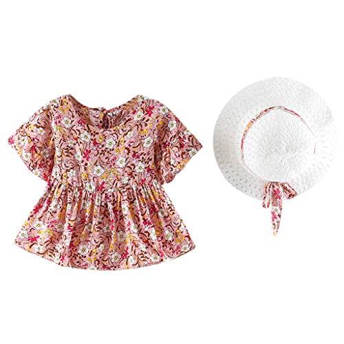 Koojawind 3M-24M Baby Trompete ÄRmel Blumendruck Blumenkleid Kleid + Breathable White Sumcreen Hat Set