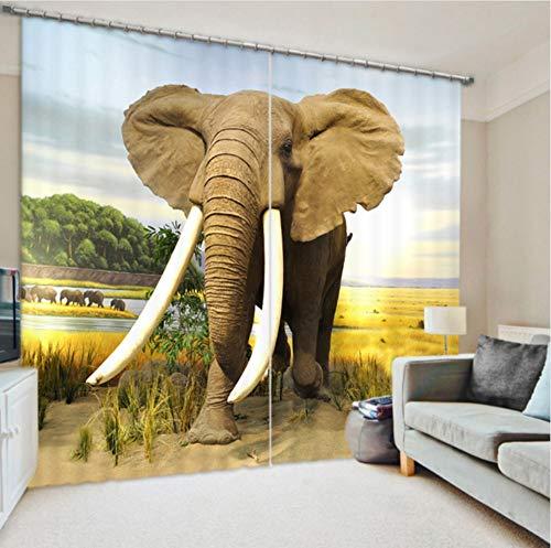 WKJHDFGB Arten Von Elefanten Vorhangstoff 3D Vorhänge Für Wohnzimmer Sonnenschutz Fenster Vorhänge,215X320Cm