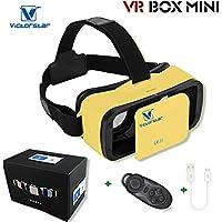 VICTORSTAR @ VR BOX MINI con telecomando,VR MINI Occhiali 3D del casco,VR Occhiali da vista,Portabilità 174g con regolabile Alunno e Focal Distanza Per 4,5 a 5,5 pollici smartphone (yellow)
