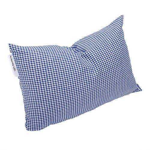 Hilfe bei Schlafstörungen, Wetterfühligkeit und Kopfschmerzen. Zirbenkissen 20 x 30 cm, deutsche Handarbeit (Karo blau klein)