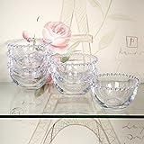 Set of 6 Glass Bella Perle Luxury Beaded Dessert Bowls