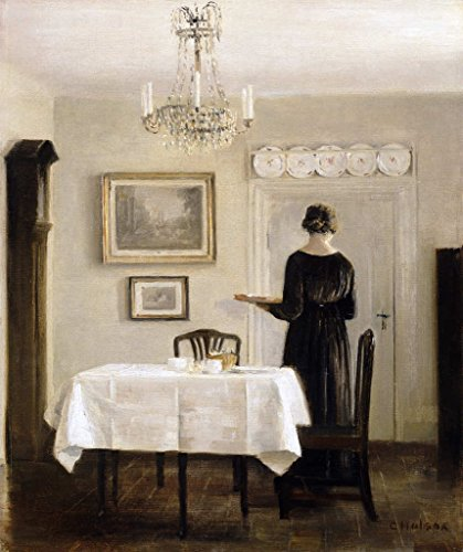 Kunstdruck/Poster: Carl Holsoe Interior with Lady Carrying Tray c 1905