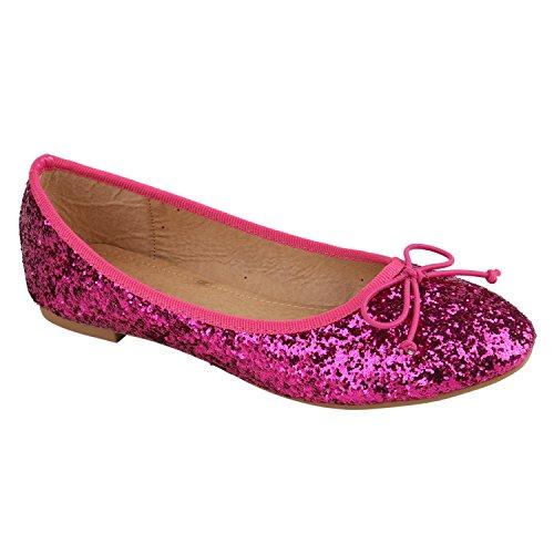 Klassische Damen Ballerinas   Flats Leder-Optik Lack   Metallic Schuhe Glitzer Schleifen   Ballerina Schuhe Übergrößen Pink Glitzer