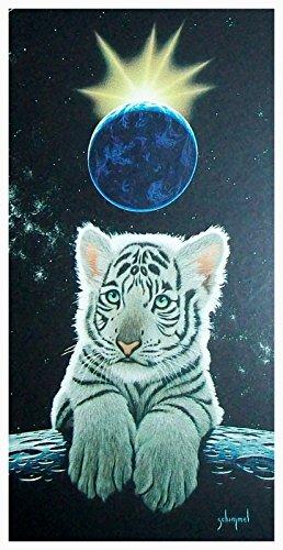 Badetuch, Strandtuch, Saunatuch - Tiger - Tigerbaby - weisser Tiger - Motiv: Crown Jewel - Weisses Tigerbaby - Hergestellt in Amerika - 100 {5ebe8a9574a0f33b57f307600b82097f389f24d1343f8cc10856d2dee523fcb7} Baumwolle - Größe XL: ca. 150 x 75 cm groß - ca. 470 Gramm pro Stück schwer