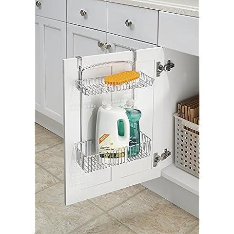 mDesign - Canasto organizador para almacenamiento sobre perfil de gabinete; para papel de aluminio, esponjas, artículos de limpieza - 2 niveles - Cromado