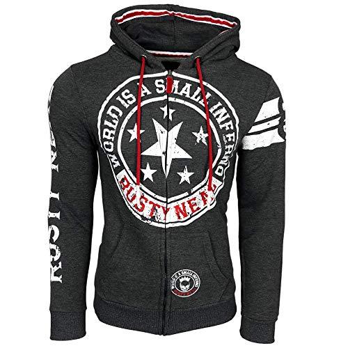 Rusty Neal Sweatjacke Printed Front Logo Herren Sweatshirt Langarm Kapuzenpullover Hoody 77, Größe:L, Farbe:Anthrazit - 1 Yeezy Nike