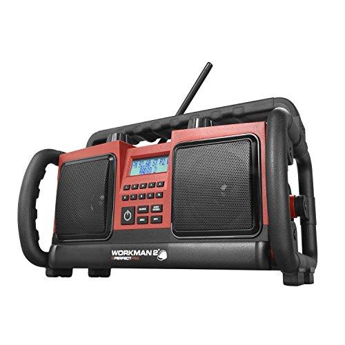 PerfectPro Workman Baustellenradio Outdoorradio mit UKW-RDS, AUX-IN, LCD Display und Stereo-Sound, spritzwassergeschützt und stoßfest geeignet für Baustellen, Garten oder Camping, Akkubetrieb möglich