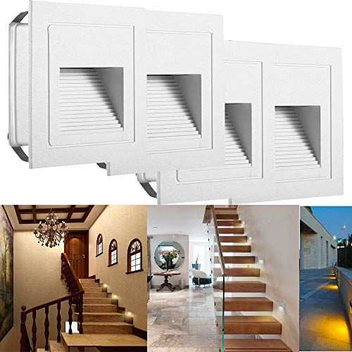 SUBOSI LED Treppenlicht Aluminium 230V 3W Glas Wandleuchten Treppenlicht mit Unterputzdose Treppenlicht Wandleuchte IP65 wasserdicht warmweiß Aluminium-gläser