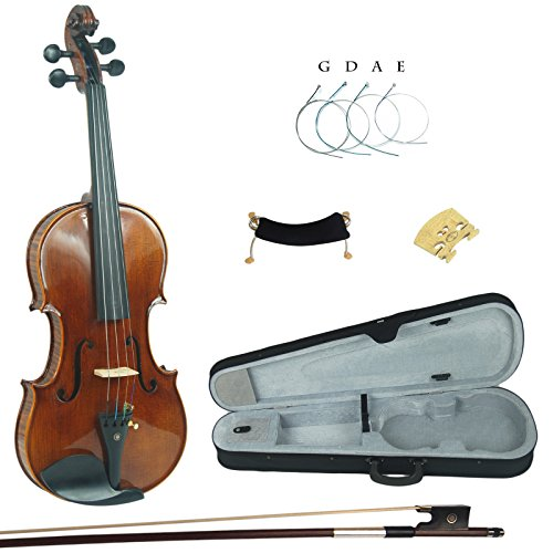 Kinglos PHB1004 4/4 Handgemacht Massivholz Schüler Akustische Violine Geige Ausrüstung in Voller Größe (Schüler 4 4 Violine)