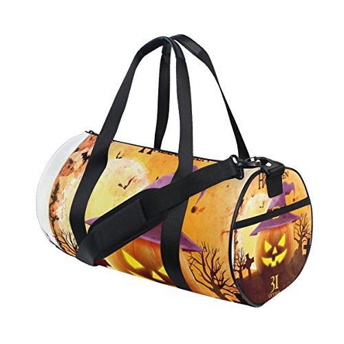 COOSUN Halloween Lächeln Kürbis Duffle Tasche Schulter Handy-Sport Gym-Taschen für Männer und Frauen Mittel Mehrfarben