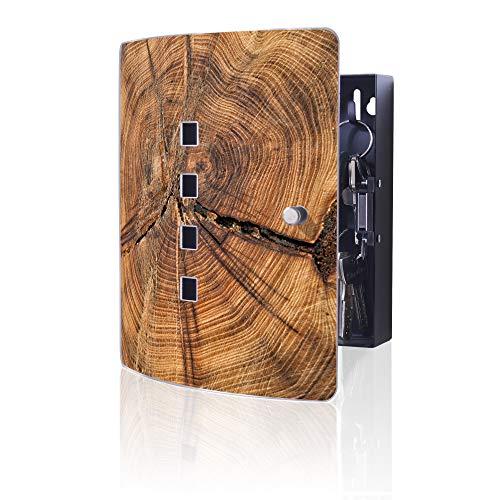 banjado Design Schlüsselkasten aus Edelstahl   10 Haken für Schlüssel   praktischer Magnetverschluss   24cm x 21,5cm Motiv Jahresringe