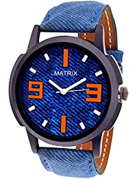Matrix Casual Analog Multicolour Dial Blue Leather Strap Men & Boys Watch-WCH-211-SS
