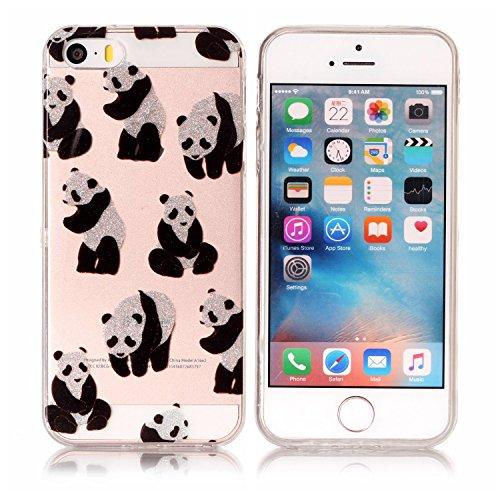 Custodia iPhone 5S Silicone, Custodia Cover per iPhone 5 in Silicone Transparente, JAWSEU Creativo Disegno Ultra Sottile Slim Cristallo Chiaro Custodia per iPhone SE Case Corpeture Antiurto Liscio Bri Panda