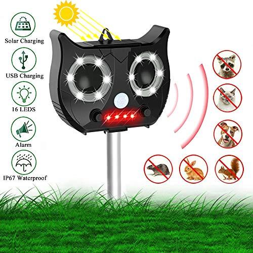 Homeet Repellente Ultrasuoni per Gatti, Giardino Repellente Animali 16 LED Flash Energia Solare Impermeabile 5 modalità di Frequenza Regolabile per Gatti, Cani, Procioni, Topi, Volpi, Roditori