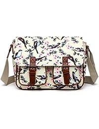 2eaa24ddf700 Miss Lulu Messenger Bag School Satchel Bookbag Oilcloth Bird Flower Cross…