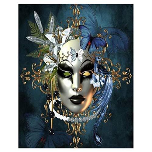 Anjuley Beauty 5D-Maske, rund, Diamant-Design, Stickerei, Needlework, Strass, Kristall, Cross Craft Stitch Kit