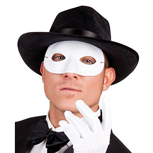 PARTY DISCOUNT NEU Maske Domino mit Gummiband, weiß