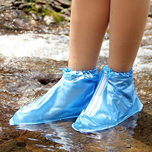 I will take action now Outdoor wasserdichte Überschuh Reise Regen und Regen Stiefel Set kleine verschleißfeste Anti-Rutsch-Männer und Frauen Erwachsene Regen Stiefel (Color : Blue, Size : M) -