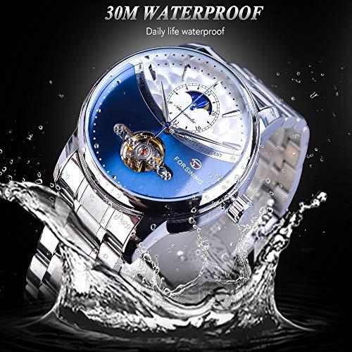 AmzGxp Multifunktionale Automatische Mechanische Uhr Casual Business Herrenuhr Exquisit (Farbe : Blue)