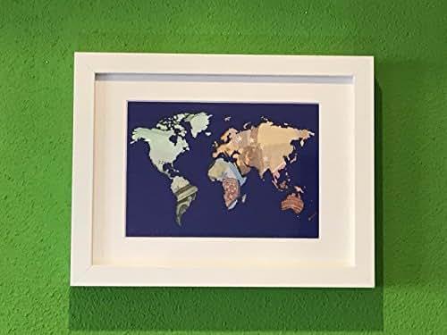 Geldgeschenk Weltkarte im Bilderrahmen, Hochzeitsgeschenk