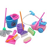 #10: Newtrends 9Pcs/set Girl Funny House Cleaning Vacuum Mini Broom Mop Tools Pretend Play Toy Cleaning Kit For Dolls Accessories