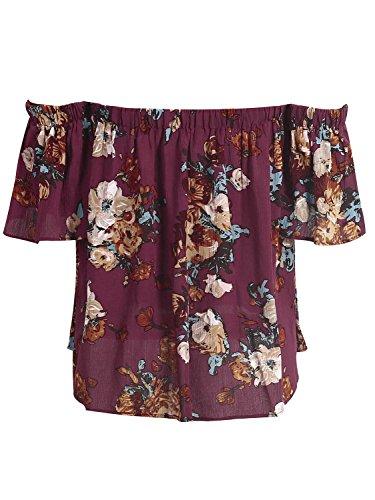 les femmes simplee épaule vêtements chemise à manches courtes en haut des motifs floraux. Burgundy