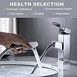 OUPAN Wasserhahn Bad Armatur mit ausziehbarem Brause Waschbeckenarmatur Mischbatterie Badarmatur Waschtischarmatur Einhebelmischer, Garantiezeit von 5 Jahren